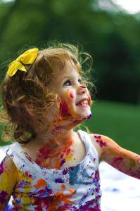 messy art nanny kid
